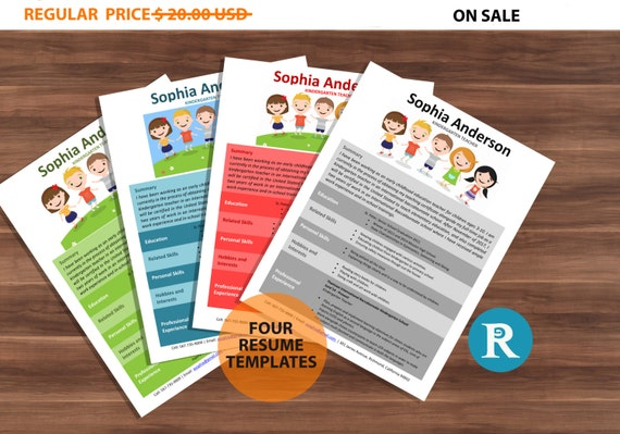 75% OFF SALE Four Kindergarten Teacher Resume Templates | Resume Design | Teacher Resume | CV Template