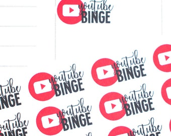 Youtube Stickers, Planner Stickers, Youtube Binge Stickers, EC binge Stickers, Blogger Stickers, Social Media Stickers, fits Erin Condren