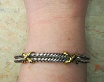 Vintage Sterling Silver Cuff Bracelet, Twisted Cable Bracelet, Cable Cuff Bracelet, Silver Rope Bracelet, Double X Bracelet, Graduation Gift