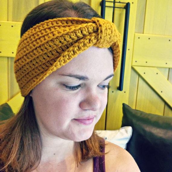 Bow ear warmer in mustard yellow