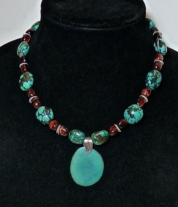 TURQUOISE TIGER EYE And Sterling Silver Necklace ~ 18 Inches Long ~ Pendant Sterling Silver Leaf Bale ~ Beautiful Sterling Silver Clasp