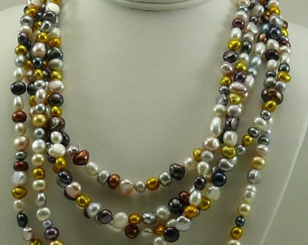 Cultured Freshwater Multi-color Pearl Necklace with Sterling Silver Clasp 101""