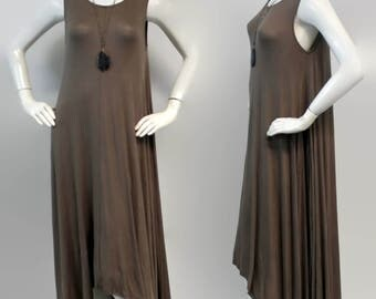 Elegant and Chic. Long Summer Maxi Dress Lagenlook Tunic, Hi Lo Tunic Dress, Asymmetrical Tunic Dress, Regular size, Boho, Brown, Sizes M, L