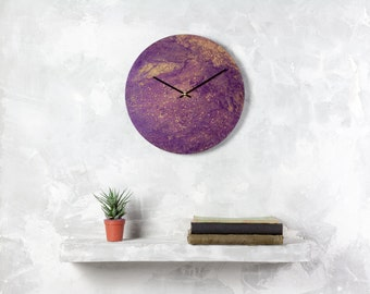 Big purple clock,  office clock, gold wall clock, unique clock, modern clock, anniversary gift, gift for her, unique gift, painting clock