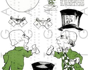 Vintage Alice In Wonderland Paper Toy. MAD HATTER Paper Doll. Vintage Wonderland Digital Download.