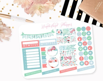 Vintage Summer - Beach Themed Planner Stickers // Icons, Banners + Flags // Perfect for Erin Condren Vertical Life Planner