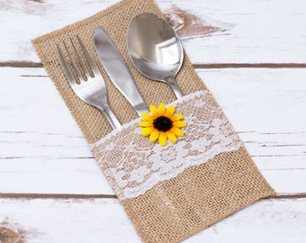 burlap silverware holder sunflower rustic wedding table lace burlap decor burlap holder flatware holder wedding set