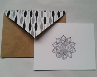Floral Mandala Handmade Recycled Stationery - Set of 10