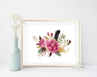 Printable Flower, Watercolor Flowers, Flower Print, Bouquet, Art Print, Shabby Chic, Instant Download, Flower Wall Art