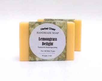 Lemongrass Soap - All Natural Soap - Handmade Soap - Handcrafted Soap - Cold Process Soap - Vegan Soap - Herbal Soap - Shea Butter Soap