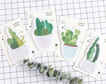 Cactus Sticky Note, Set of 4, Green Plants, Stationary, Potted Garden, Post-it, Memo Notes
