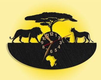 """Lions Wood Wall Clock, Africa Clock, African Wild Animals, Wild Nature, Wooden clock 14""""(35cm), Wall Art Decor, Gift Idea"""