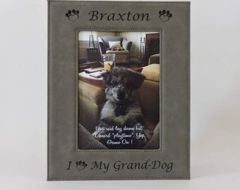 grand dog photo frame grandpuppy granddog grandpup custom engraved photo picture frame personalized gray leather