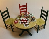Dollhouse Miniature Dining Table Set with Christmas Dessert Buffet (1/12 Scale)