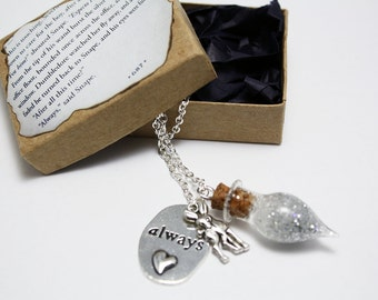 Always Necklace - Severus Snape's Tear Bottle + Always & Doe Charm necklace (silver or bronze)