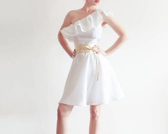 Clearance Sale - One Shoulder Ruffled White Linen Dress - Size XS Last Available - Ready to Ship