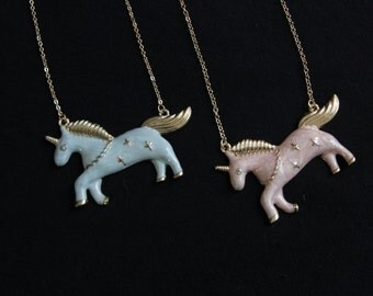 Fabulous Pastel Pink and Blue UNICORN Necklaces!