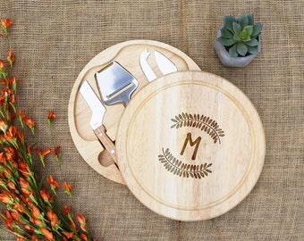 Monogram Cheese Board, Swivel Style w/ Cheese Tools, Engraved, Custom, Personalized, Housewarming, Cutting Board, Wedding, Shower, Gift
