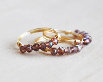 Purple Glass Bead Ring, Gemstone Rings, Wire Wrap Rings, Dainty Ring, Skinny Stacking