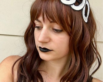 "Halloween Sequin ""BOO"" Headband - Black and White - Costume Holiday Headpiece Hair Accessory"
