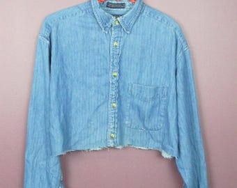 Reworked Vintage Denim Cropped Button up Top