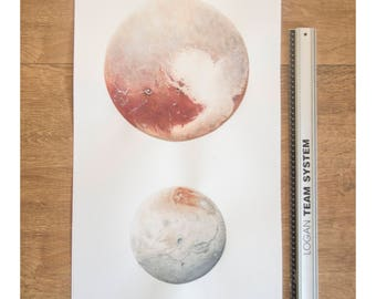 ORIGINAL Pluto and Charon watercolor painting, watercolour moon art, planet wall art, space illustration, solar system drawing, love heart