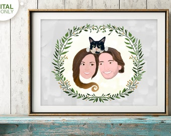 Illustrated custom portrait, Couple family portrait, couples portrait, anniversary gift for boyfriend, couple with dog, gift for couple, pet