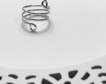 Sterling silver wire ring , Spiral ring , Wrap around ring , Gift For Her , Birthday gift , Sterling Silver ring , Unique rings