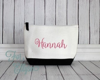 BLACK Color Dipped Canvas Cosmetic bag - Bridesmaid gift - Personalized