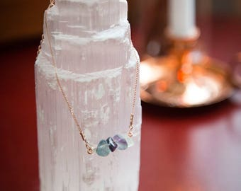 Choker Necklace • Fluorite Necklace • Gemstone Necklace • Raw Crystal • Layering Necklace • Rose Gold Necklace • Dainty Necklace • Wiccan