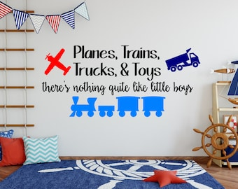 Planes, Trains, Trucks & Toys - Vinyl Decal - Wall Mural - Vinyl Decal/Sticker decor for your home - Large Kids Decor