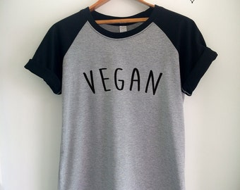 Vegan Shirt Vegan T Shirt Vegan Merch for Women Girls Men Tumblr Vegetarian Baseball Jersey Top Tee White/Grey