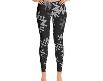 Womens Leggings With Designs - Triangle Leggings, Black and Gray Square and Triangle Pinwheel Design Printed Leggings, Yoga Pants