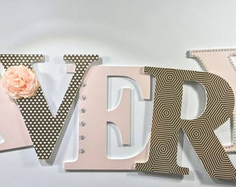 Blush pink and gold nursery letters, pink and gold wall letters, baby girl nursery letters, gold letters, blush nursery letters