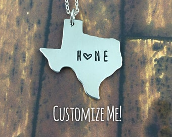 Customizable Hand Stamped Texas Necklace