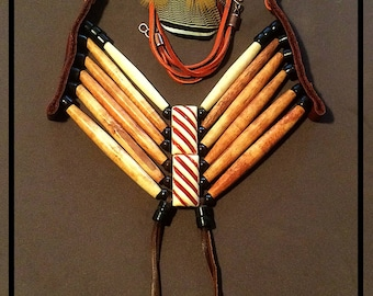 Breastplate Necklace, Bone Hairpipe, Horn, and Leather Necklace, Native American Inspired.