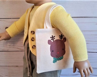 "Christmas doll tote,Reindeer bag ,Doll purse,Tote bag for 18"" doll"