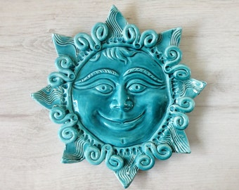 Turquoise ceramic sun ethnic details wall decor