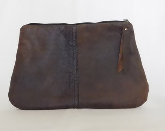 Repurposed brown leather clutch