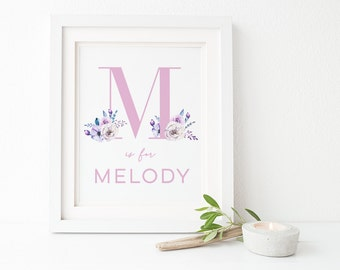 Baby Name Print | Nursery Name Wall Art | Baby Door Sign | Letter Initial Girl | Baby Keepsake | New Baby Gift  | Nursery Decor