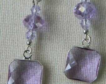 Lilac Amethyst Crystal Earrings on Sterling Earwires