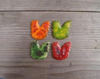 Cute chick magnet, ceramic chicken magnet, simple gift, Red chicken, Green chicken, Orange chicken, kitchen magnet, farm magnet, chicken