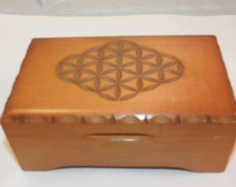 An ornate carved wooden  musical box
