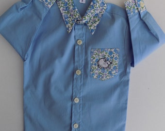 All baby-boy-shirt blue and pants bleuc-hemise liberty United-col-Pocket - embroidered hand-baby-6 months-12 months-24 months