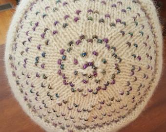 Purple Beaded White Alpaca Hat