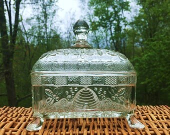 Antique Indiana Glass Honey Box with Splayed Feet