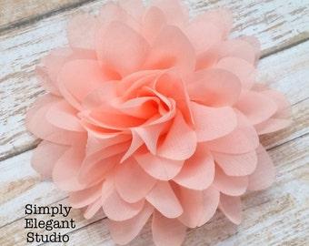 "BLUSH- Chiffon Flowers, 3.75"" Fabric Flowers, Baby Headband Flowers, Craft Supply Flowers"