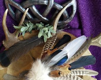 Spirit of Eurasia - feather fan, smudging, shaman, druid, witch, pagan, spirit, altar, purification, phaesant, mallard, swan