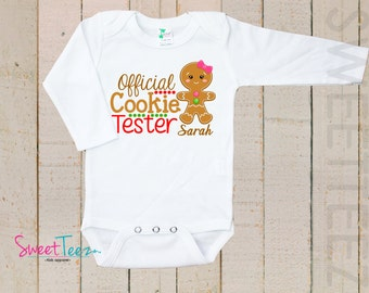 Christmas Shirt Official Cookie Tester LONG SLEEVE Shirt Personalized Name Boy Girl Baby Toddler Shirt GingerBread