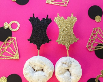 Bachelorette Cupcake Toppers • Lingerie Toppers • Corset Toppers • Bridal Shower Toppers • Bachelorette Party Decor  • Food Picks